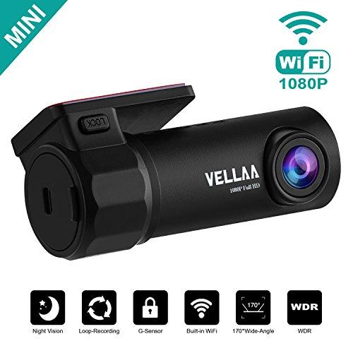 Caméra de Voiture WiFi Caméra Embarquée Full HD 1080P, VELLAA Mini Dashcam Avant Arrière Grand Angle 170°, Enregistrement en Boucle, DVR, WDR, G-Capteur Dashcam Voiture