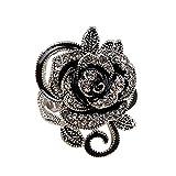 HOMEYU Anillo Más Nuevo de la Venda de Plata de la Flor de la Rosa del Negro Gótico de la Vendimia Grande para Las Señoras de Las Mujeres