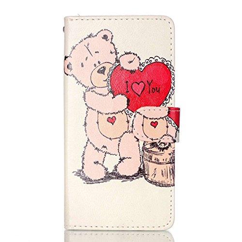 Voguecase® für Apple Iphone SE hülle ,Kunstleder Tasche PU Schutzhülle Tasche Leder Brieftasche Hülle Case Cover (Pflaumen/Hirsch) + Gratis Universal Eingabestift Liebebär