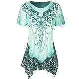 TUDUZ Damen Elegant O-Ausschnitt Plissee Große Größen Kurzarm Bluse Top Tunika Hemd Shirt