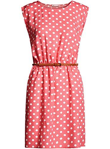 oodji Ultra Damen Ärmelloses Kleid aus Bedruckter Viskose Rosa (4A12D)