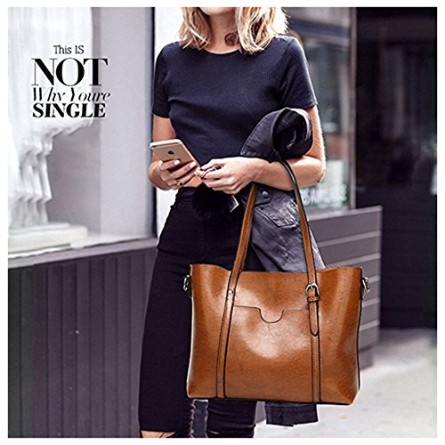 ECOTISH Damero delle donne Vintage spalla del sacchetto con fodera rimovibile Tote Grande Capacità Multifunzione del Sacchetto Nero