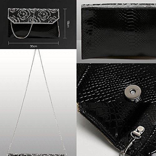 Frauen-Handtasche-Schulter-Abend-Handtaschen-Einkaufstasche gold 4