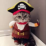 Idepet Caribbean Pirate Cat Costume Funny Dog Pet Clothes Suit Corsair Dressing up Party Apparel Clothing for Dogs Cat Plus Hat (XL)