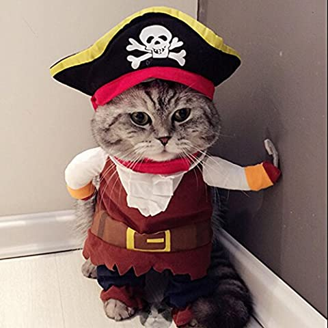 Caribbean Pirate Cat Costume Funny Dog Pet Clothes Suit Corsair Dressing up Party Apparel Clothing for Dogs Cat Plus Hat (S)