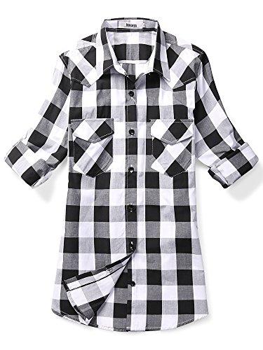 OCHENTA Blusas Mujer mittellangarm aufkrempelnd Plaid Camisa de Franela Weiß/Schwarz (White Black (Thin)) 42