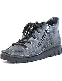 Softwaves Mujeres Zapatos con cordones gris, (grau-kombi) 7.32.03