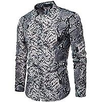 Camisa Slim Fit Casual de Primavera para Hombre Camisa con Botones de Manga Larga Estampada Top Blusa