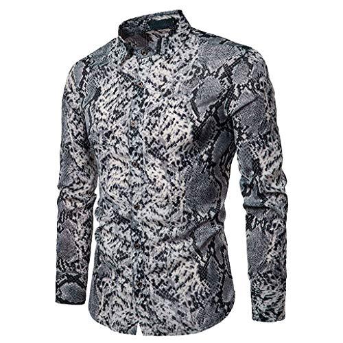 Camisas De Hombre La Vespita,Modaworld Camisa Slim Fit Casual De Primavera Camisa De Manga Larga De Serpiente De Leopardo con Estampado para Hombre