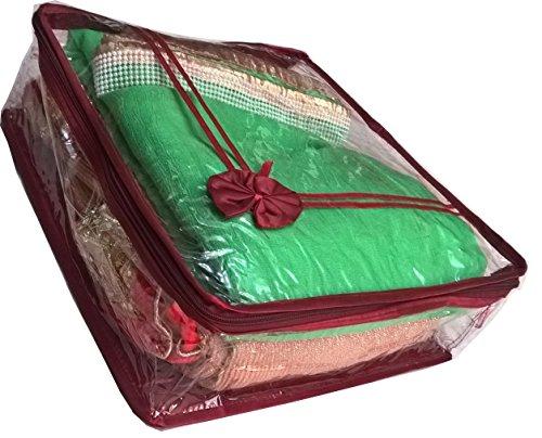 Giftocraft Non Woven Transparent Designer Multi Saree cover (5-10 Sarees Capacity)