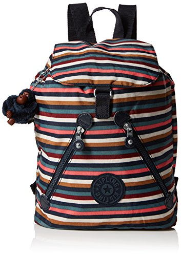 Kipling Damen FUNDAMENTAL Rucksack, Mehrfarbig (Multi Stripes), 42x42x16.5 cm -