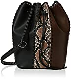 French Connection Womens Robyn Whipstitch Bucket Shoulder Bag
