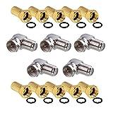HB-DIGITAL Winkel-Adapter SET für SAT Anlagen: 10x F-Stecker (Vergoldet) + 5x F-Winkel-Adapter [F-Stecker (SAT, männlich) auf F-Buchse (SAT, weiblich)] rechtwinklig Ecke Steckverbinder 90° Grad F-Winkeladapter