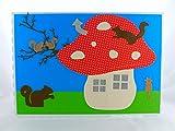 Grußkarte mit Eichhörnchen, Pilzhaus, Katze, DIN A5, Grußkarte für viele Anlässe