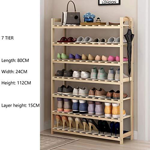 LXDDB Schuhständer Rack Lagerung Schmale Holz Sitzbank Mit Armlehnen Flur Schlafzimmer 4 Bis 7 Tier 80 * 24 * 112 cm (Größe: 7 Tier)