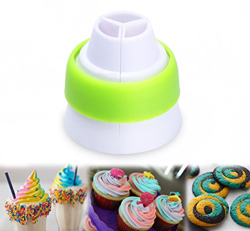 ilauke 3-Color Coupler Russian Icing Piping Converter for Icing Piping Bag Pastry Decor Nozzles