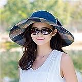 GAOQIANGFENG Womens UPF 50 + Hut, Weiblicher Strand, Sonnenschirm Helm, Sonnenschirm Kappe, Strand Strand Falten Doppelseitig Sonnenhut, Blaue Farbe