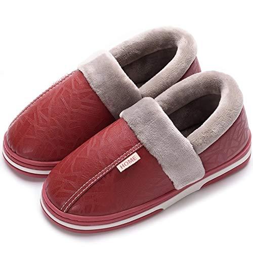Hishoes Herren Damen Winter Wasserdichte Hausschuhe Boden Pantoffeln Anti-Rutsch-Breathable Warme Startseite Slipper Größe 35-50