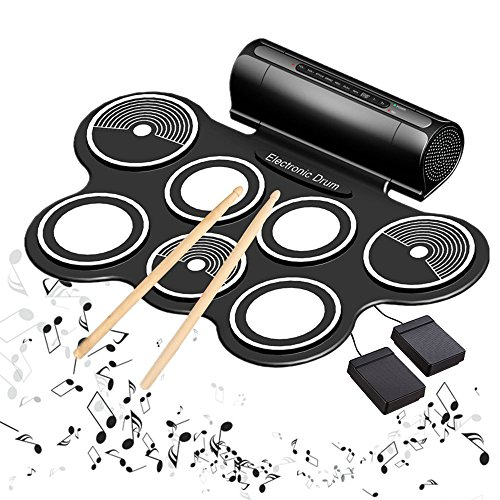 Elektronisches Schlagzeug E-drum Kit Roll Up Eingebaute Lautsprecher MIDI Elektronische Trommel mit Silikon Pad Perkussion Pedalen Sticks USB 3,5mm Audiokabel Weihnachtsgeschenk für Kinder