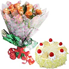 SPLENDID COMBO - 12 Peach Roses Hand Bunch with Half KG Pineapple Cake
