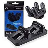 Skins4u© Playstation 4 Controller PS4 Dual Ladestation, MINI Twin Dual Duo USB für 2 PS4 Controller Docking Station Ladegerät auch für PS4 Pro und Slim Controller