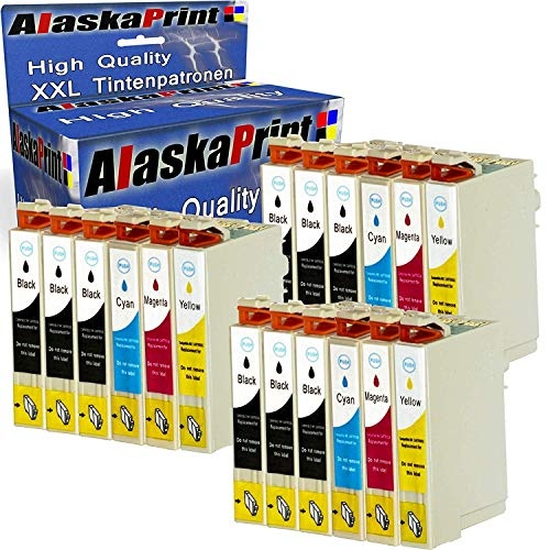 Alaskaprint 18 Druckerpatronen Komp. Für Epson T1631 xl 16XL 16 XL 163XL für Epson Workforce WF-2760 WF-2630 WF-2510 WF-2660 WF-2540 WF2760 WF2630 WF2510 WF2660 WF2540 Patronen Tintenpatronen