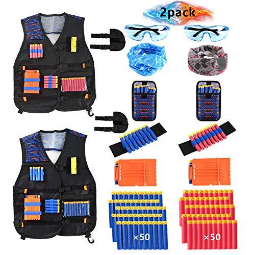 Locisne 2 Pack Lot Gilet Veste Tactique pour Enfants Nerf Toy Gun série N-Strike Elite(w/100 fléchettes en Mousse+2 Lunettes+2 Masque Facial+2 Quick Reload Clip+2 Poignet+2 Sac+2 Holster)