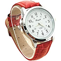 male Wrist Watch - Gerryda male Fashion digital Leather belt quartz Wrist Watch Red