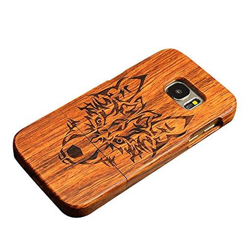 Dual Kirschholz (Forepin® Natur Holz Hülle Handyhülle Echtem Schutz Schale Hart Cover Case Etui für Samsung Galaxy S7 Edge, Wood Handy Schalen - Wolf)