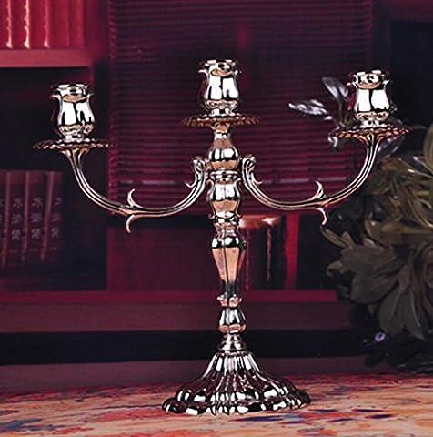 Wmshpeds Maison de vacances romantique, bougeoir metal rosette, l'élégance européenne, chandelier d'alliage, bougie lustre, ornements de