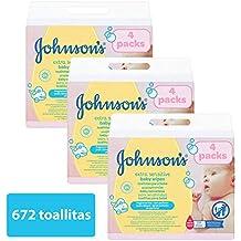 Johnsons baby - Toallitas para bebe Extra sensibilidad, 224 uds (Pack de 3 -