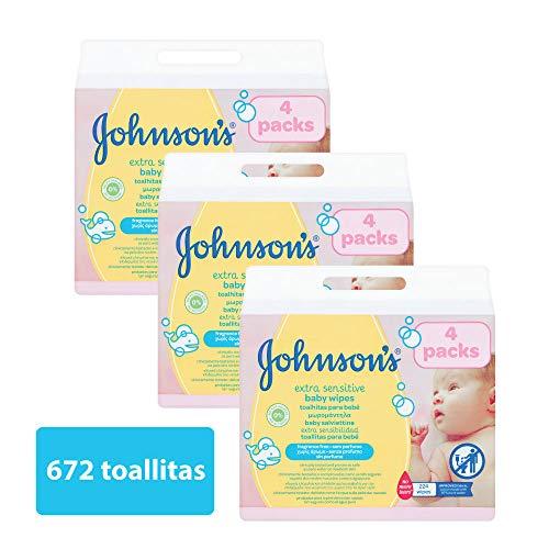 Johnson\'s baby - Toallitas para bebe Extra sensibilidad, 224 uds (Pack de 3 - 672 toallitas)