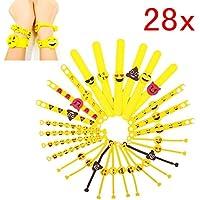 JZK Set 28 braccialetti slap emoji gomma bracciale emoticon bomboniera regalino pensierino festa compleanno bambini adulti giocattoli piccoli