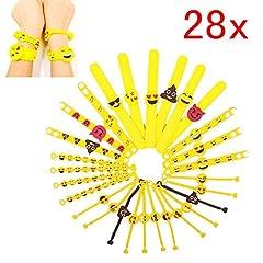 Idea Regalo - JZK Set 28 braccialetti slap emoji gomma bracciale emoticon bomboniera regalino pensierino festa compleanno bambini adulti giocattoli piccoli