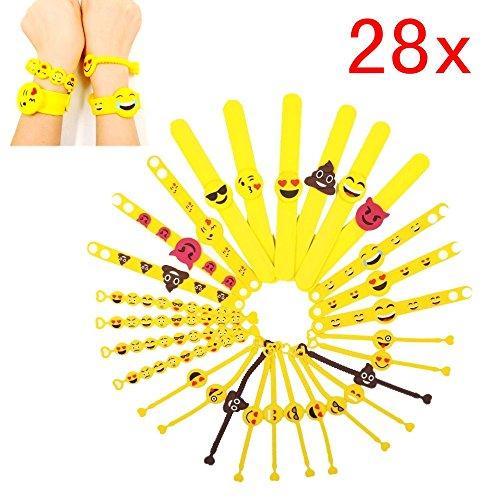 emoji armband JZK 28 x Emoji Gummi Armbänder Party Spielzeug Set Schnapparmband Klatscharmband für Kinder Giveaways Kindergeburtstag Party Geschenk Mitgebsel