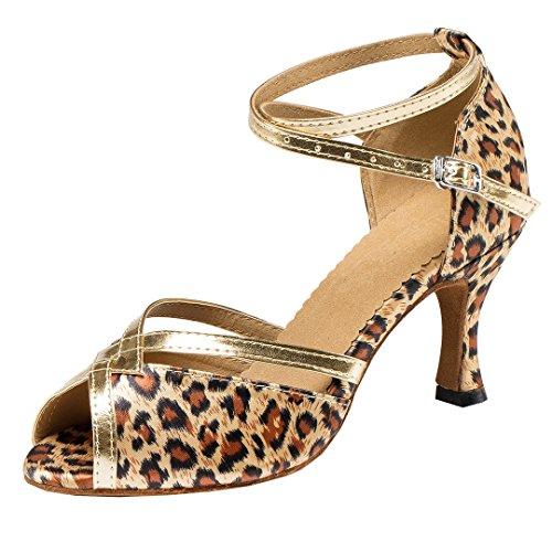MGM-Joymod Damen Standard & Latein, Braun - Leopard Satin/7.5cm Heel - Größe: 37.5 Leopard Satin-heels