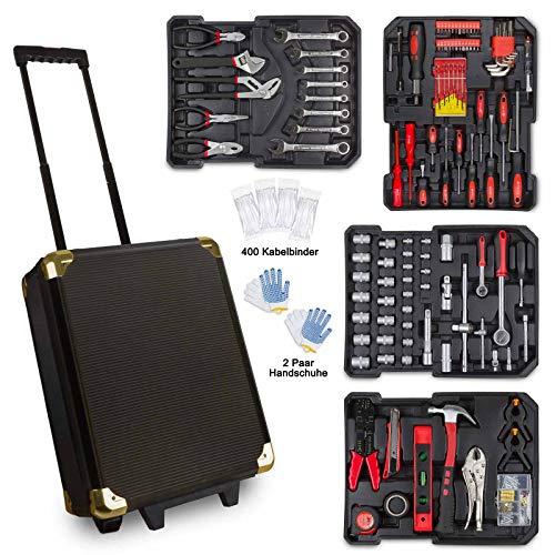 hanSe 969tlg. Blackline Werkzeugkoffer Alurahmen mit Ratschen Trolley Gabelringschlüssel, Steckschlüssel, Zangen, Bits, Schraubendreher
