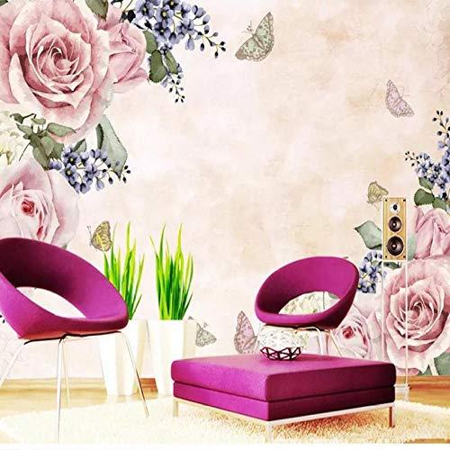 Kundenspezifisches Wandbild 3d Großes Wandbild handgemalte Blumentapete Schlafzimmer TV Hintergrund Tapete Retro dunkle Tapete Wandbild 200x140CM