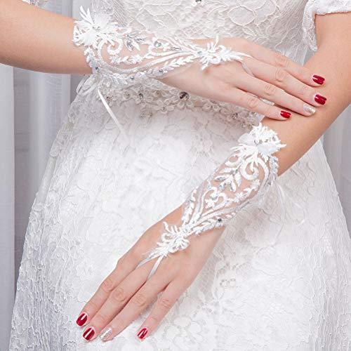 BESTOYARD 1 Paar Spitze Hochzeit Handschuhe Braut Kurze Handschuhe Handgelenk Hochzeit Party Kostüm Abschlussball (weiß)