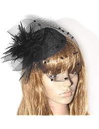 Lh Yu Mujeres Fascinator Hat Pluma Malla Velo Partido Sombrero Ascot  Sombreros Flor Derby Sombrero a58c06c79d9