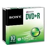 SONY 10DPR120BSL DVD+R, 4,7GB, 10-er Pack, Slim Case, 16 Fach silber