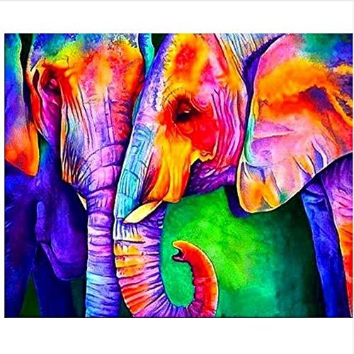 WACYDSD Pintura por Números Dos Elefantes De Colores Pintura Al Óleo Pintada...