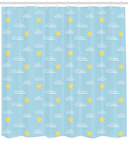 GONIESA Yellow and Blue Shower Curtain, Cute Clouds Sun Pattern with Vertical Stripes Dots Playroom Design, Fabric Bathroom Decor Set with Hooks, 60 * 72inch Extra Wide, Pale Blue Yellow -