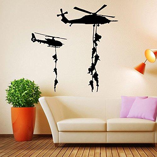 Ufengke home adesivi da parete silhouette elicottero militare adesivi murali con soldati e scale sospese decorazione rimovibili vinile diy stickers murali per soggiorno, camera da letto