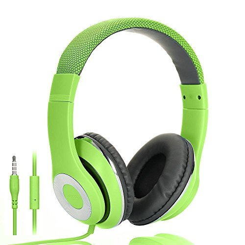 Ausdom f01 leggero cuffie musica stereo auricolari con microfono - compatibile con cellulare, smartphone, computer (verde)
