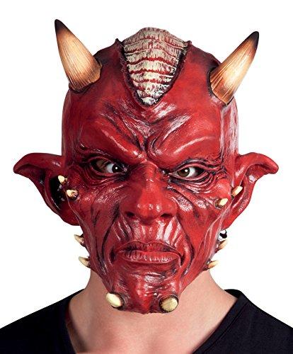 eufel Deluxe aus Latex für Erwachsene, Rot, Einheitsgröße, 97505 (Latex Maske Teufel)