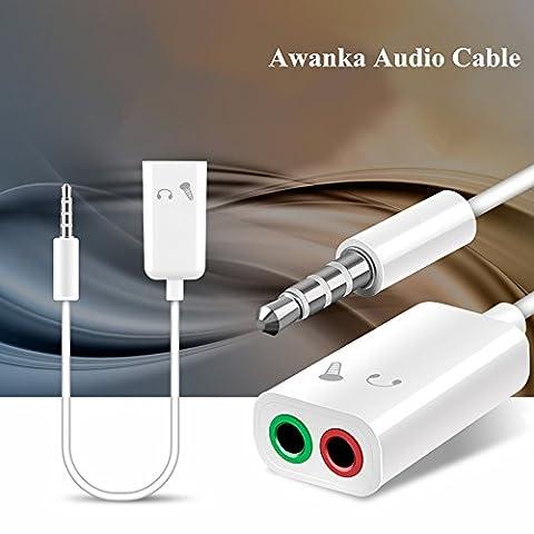 Awanka Accessoire Audio Jack Adaptateur Audio Câble Jack 3.5mm à Casque Microphone pour PS4, Xbox One, PC, Téléphone, Tablette, Écouteur, Haut-parleur, Audio Enceinte 10 cm