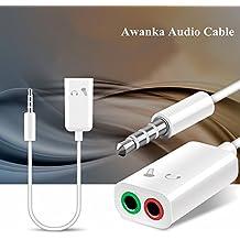 Awanka Adaptador Divisor de Mic y Audio 3.5mm Macho a 2 Hembra para Auriculares de Clavijas de Mic y Audio Separadas, Chapado en Oro