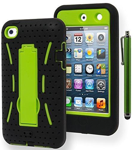 Bastex Schutzhülle für iPod Touch 4, strapazierfähig, Hybrid-Standfunktion, weiche Schwarze Silikonhülle, Harte Neongrün, mit Ständer, inkl. Eingabestift Ipod Touch 4 Hybrid