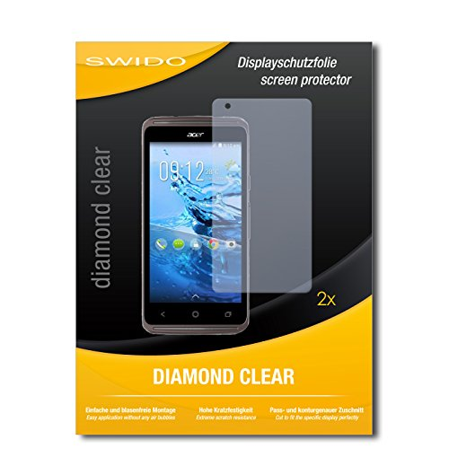 SWIDO 2 x Bildschirmschutzfolie Acer Liquid Z410 Plus Schutzfolie Folie DiamondClear unsichtbar